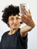 Woman takes a self portrait Stock Photos