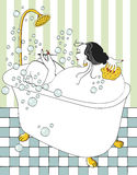 Woman taking bath. With bubbles and tiled floor Stock Image