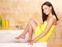 Woman taking bath. Royalty Free Stock Images