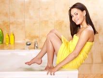 Woman taking bath. Young woman take bubble  bath Royalty Free Stock Images