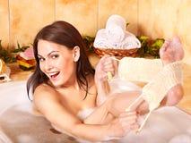 Woman taking  bath. Young woman take bubble  bath Royalty Free Stock Photo