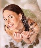 Woman taking  bath. Young woman take bubble  bath Royalty Free Stock Photography
