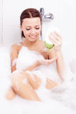 Woman taking a bath Royalty Free Stock Photography