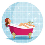 Woman taking a bath. Bathroom. Vector illustration of a bathroom with white vintage bathroom tiles on the background royalty free illustration