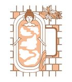 Woman taking a bath tub with houseplants. Vector illustration design Stock Image