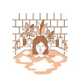 Woman taking a bath tub with houseplants. Vector illustration design Stock Photos