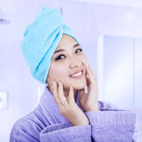 Woman after taking bath Stock Photo