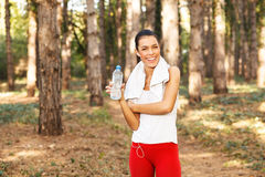 Woman taking a break after running Stock Photo