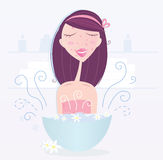 Woman is taking camomile skin care vector illustration
