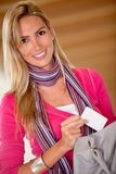 Woman taking a card from her purse Stock Photos