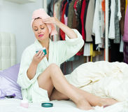 Woman taking care of face Royalty Free Stock Photography
