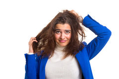 Woman taking care of her hair Royalty Free Stock Photo