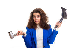 Woman taking care of her hair Royalty Free Stock Photography