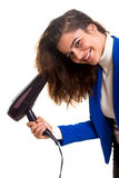 Woman taking care of her hair Stock Photography