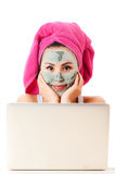 Woman taking care of her skin Royalty Free Stock Image