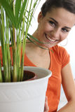 Woman taking care of the plants Royalty Free Stock Photography