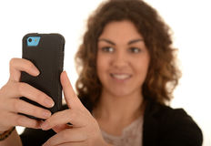 Woman taking cellphone photo Stock Images