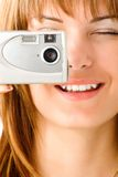 Woman Taking Digital Picture Stock Photo