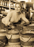 Woman taking dried beans Stock Photo