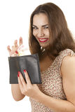 Woman taking euro from wallet Stock Images