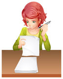 A woman taking an exam Royalty Free Stock Images