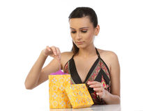 Woman taking the gift from  gift box Royalty Free Stock Photo