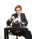 Woman taking money from purse Royalty Free Stock Images