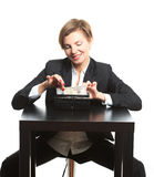 Woman taking money from purse Stock Photography