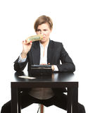 Woman taking money from purse Royalty Free Stock Photos