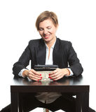 Woman taking money from purse Stock Photo