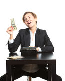 Woman taking money from purse Royalty Free Stock Image