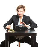 Woman taking money from purse Royalty Free Stock Photography