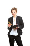 Woman taking money from purse Stock Photos