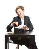 Woman taking money from purse Stock Image
