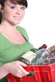 Woman taking out the recycling Royalty Free Stock Photos