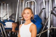 Woman taking pause between exercising Stock Photo