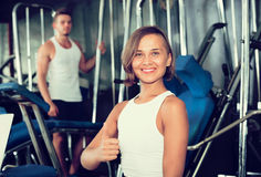 Woman taking pause between exercising Stock Photography