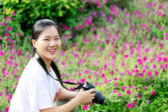 Woman taking photo Stock Photography