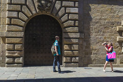 Woman taking a photo, Barcelona Stock Images