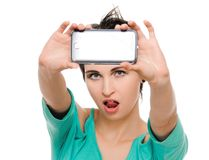 Woman taking photo with mobile cell phone Stock Photos