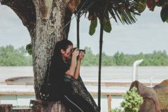 Woman Taking Photo Near to Tree Stock Images