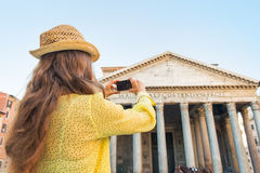 Woman taking photo of pantheon in rome, italy Royalty Free Stock Photos