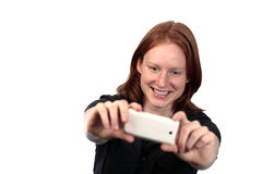 Woman Taking Photo with Phone Stock Photo