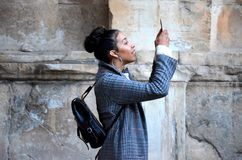 Woman taking photo with smartphone Stock Photo