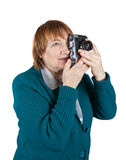 Woman taking photo with vintage camera Royalty Free Stock Photos