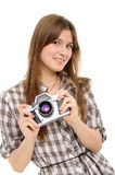 Woman taking photo with vintage camera Stock Photography
