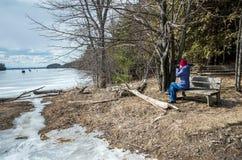 Woman taking photos near Lake Champlain Stock Photography