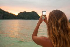 Woman taking photos in Thailand Stock Image
