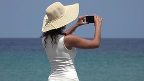 Woman Taking Photos On Vacation stock footage