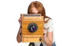 Woman Taking Photos With Vintage Camera Royalty Free Stock Photography